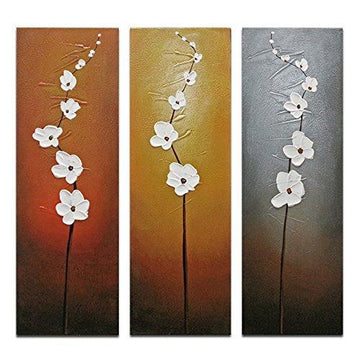 Wieco Art - Modern Contemporary Flowers Artwork Decorative 3 Panels 100% Hand Painted Abstract Floral Oil Paintings on Canvas Wall Art Décor for Living Room Bedroom Home Decorations