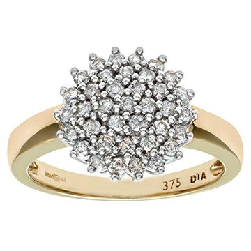 Naava Women's Diamond Cluster Ring, 9 ct Yellow Gold, Cluster Set, Round Cut, 0.5 ct Diamond Weight, Ring