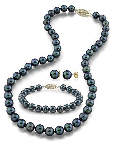 "14K Gold 6.0-6.5mm Black Akoya Cultured Pearl Necklace, Bracelet & Earrings Set, 18"" - AA+ Quality"