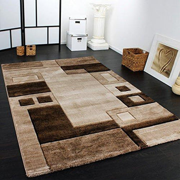 Luxury Designer Rug - Contour Cut - Geometric Checked - Mottled Brown Beige, Size:120x170 cm