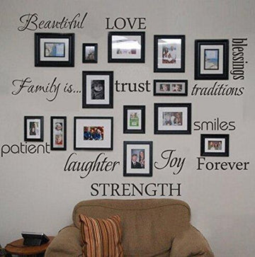 WONZOM Family Words Wall Decal Set Love Trust Blessing Smile Wall Sticker Picture Wall Decal Room Art Decoration
