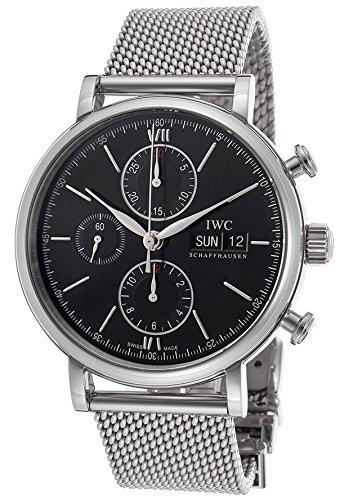 IWC Men's 42mm Silver-Tone Mesh Bracelet Steel Case Mechanical Black Dial Chronograph Watch IW391010
