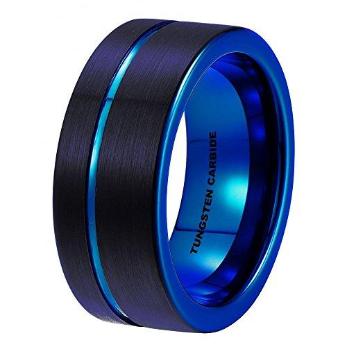 Mens Tungsten Ring -Black Tungsten Wedding Band 8mm for Men Women Blue Black Pipe Cut Brushed Ring Z+5