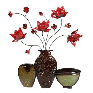 Hosley's Metal Dimensional Wall Art-Vase. PIBOO P1. Perfect for everyday use, wedding, events, aromatherapy,Spa, Reiki, Meditation, Bathroom setting.