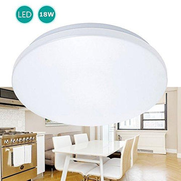 KWODE 18W LED Ceiling Light, Ø 28cm, 6000K, 1500LM, IP44 Flush Mount Fixtures Light, Lighting for Kitchen, Office, Bedroom, Bathroom, Hallway, Living Room, 2 Year Warranty( Cool White)