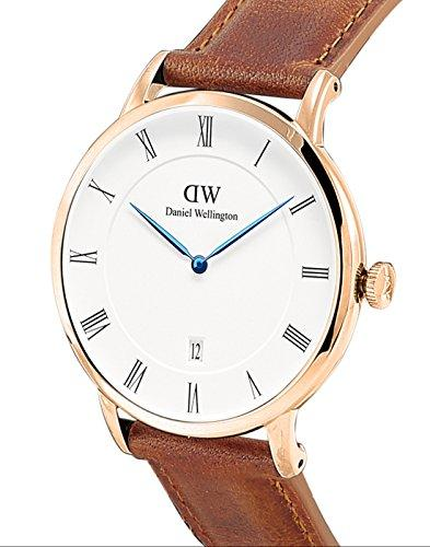 Daniel Wellington Dapper Men Quartz Watch with Analog Display and Brown Leather Strap - DW00100115