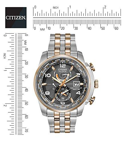 Citizen Watch World Time A.T Men's Quartz Watch with Grey Dial Analogue Display and Multicolour Stainless Steel Plated Bracelet AT9016-56H