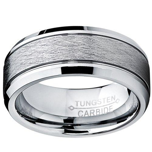 Ultimate Metals Co. Tungsten Carbide Men's Brushed Center Wedding Band Ring, Comfort Fit,8 mm Size R 1/2