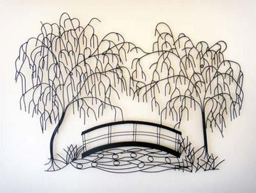New - Contemporary Metal Wall Art Decor Sculpture - Weeping Willow Bridge Scene