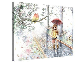 Large Canvas Print Wall Art - Love in the Rain - Cute Watercolour Anime Art Canvas Print - 100x75cm Canvas Picture Stretched On A Wooden Frame – Giclee Canvas Printing – Hanging Wall Deco Picture