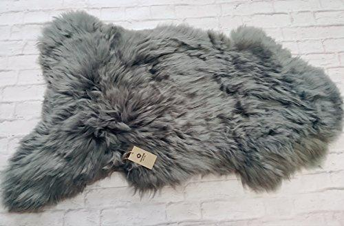 New, Luxury, XXL 100% Genuine Grey 2 Extra Large Sheepskin Rug with Extra Thick Wool (110-120 x 70-75)
