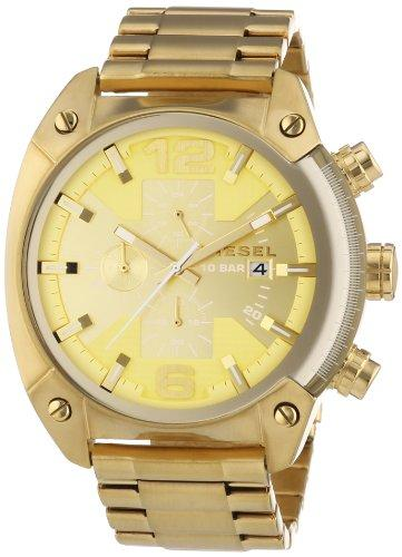 Diesel Overflow Men's Quartz Watch with Gold Dial Analogue Display and Gold Stainless Steel Bracelet Dz4299