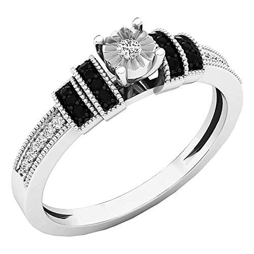 0.15 Carat (ctw) Sterling Silver Round Black & White Diamond Ladies Engagement Ring