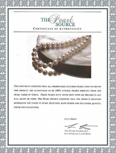 "7-8mm White Freshwater Cultured Pearl Necklace & Matching Earrings Set, 18"" Princess Length - AAA Quality"