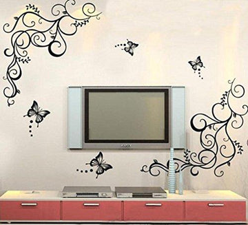 Wall Sticker, Chshe Butterfly Wisteria Flowers Vine Art Vinyl Wall Decals Stickers Home Decor for Living Room Bedroom TV Background Wall