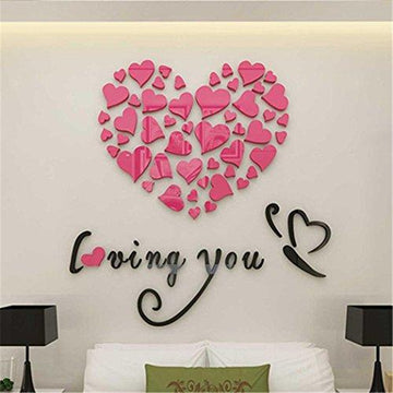 Wall Stickers, Love Heart DIY Removable Vinyl Decal Art Mural Wall Stickers Home Room Decor (Red)