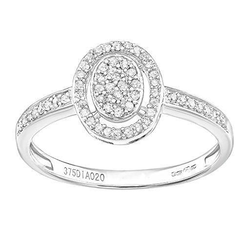 Naava 9ct White Gold Oval 0.20ct Halo Diamond Engagement Ring - Size J