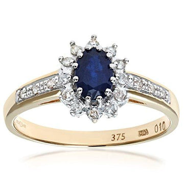 Naava Women's Sapphire and 12 Diamond Set Shoulders 9 ct Yellow Gold Ring - Size R