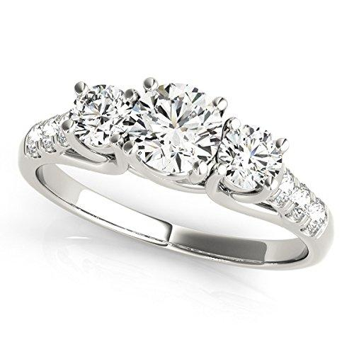 2.10 Ct Round Cut Moissanite Diamond Engagement Ring 14K White Gold Diamond Color H-I Diamond Clarity SI1 Diamond Cut Excellent Solitaire Wedding Rings Size J K L M N O P Q R S T