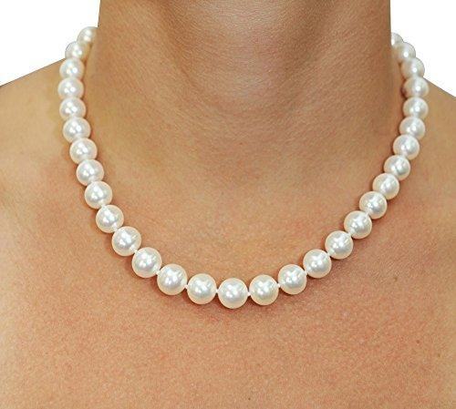 14K Gold 10-11mm White Freshwater Cultured Pearl Necklace, 36 Inch Opera Length