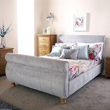 Hf4you Chicago Silver Chenille Upholstered Sleigh Bed - 4FT6 Double - 6