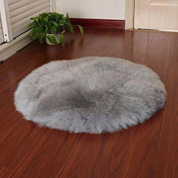 30*30CM Faux Fur Rug,Mamum Soft Artificial Sheepskin Chair Cover Seat Pad Soft Fluffy Shaggy Area Rugs (Gray)