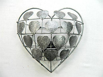 Love Heart Tealight Candle Holder Wall Art Sconce - Silver Heart T Lite