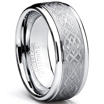 8MM Men's Tungsten Carbide Ring with Celtic Design Size V 1/2