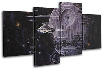 Bold Bloc Design - Star Wars Death Star Movie Greats 160x90cm MULTI Canvas Art Print Box Framed Picture Wall Hanging - Hand Made In The UK - Framed And Ready To Hang