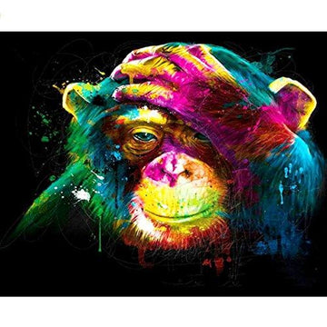 Shukqueen Diy Oil Painting, Adult's Paint by Number Kits, Acrylic Painting Colorful Monkey 16X20 Inch (Framed Canvas)
