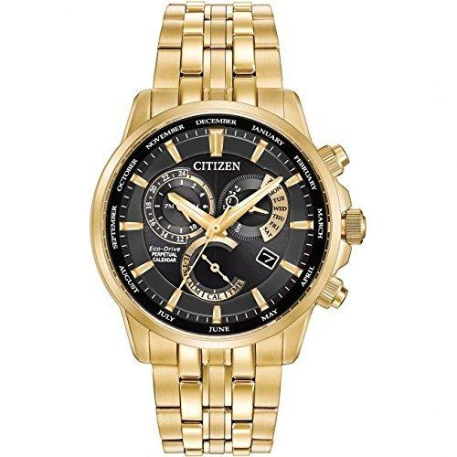 Citizen Watch Calibre 8700 Men's Solar Powered Watch with Black Dial Analogue Display and Gold Stainless Steel Bracelet Bl8142-50E