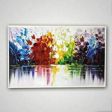 Orlco Art hand painted landscape painting thick knife oil painting oil painting color abstract woods fragrant house wall living room artwork