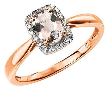 Elements Gold 9ct Rose Gold Diamond and Morganite Ring Size - N