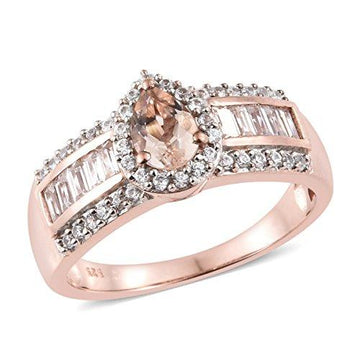 Moroppino Morganite, Zircon Ring in Rose Gold Overlay Sterling Silver 2 Ct