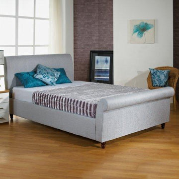 Hf4You Upholstered Sleigh Bed Frame Grey - 6Ft Super King - Ice Grey - No Mattress (Frame Only)