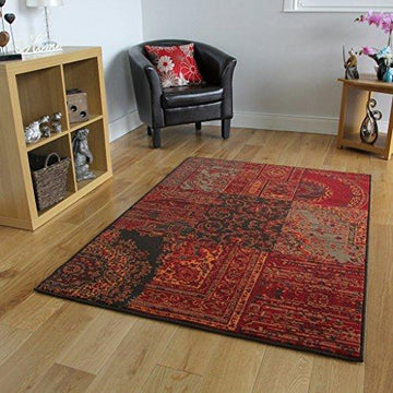 Milan Red, Brown, Orange & Grey Traditional Rug 1572-S52 - 8 Sizes