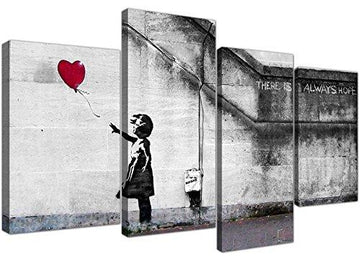 Extra Large Banksy Canvas Prints Balloon Girl 130cm XL Red | Set 4050