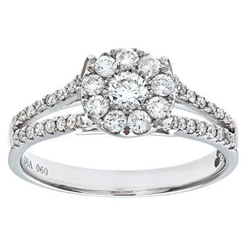 Naava Women's Round Brilliant 0.60ct I/I1 Diamond 18 ct White Gold Engagement Ring - Size M