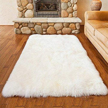 Faux Fur Rug Soft Fluffy Rug (50 x 150 cm) Shaggy Rugs Faux Sheepskin Rugs Floor Carpet for Bedrooms Living Room Kids Rooms Decor (white, 50 x 150 cm)