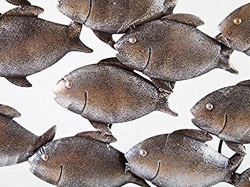 Dipamkar® Large Metal Wall Art Garden Wall Art A Shoal of Fish Sculpture Home Garden Decoration W90 x H50cm