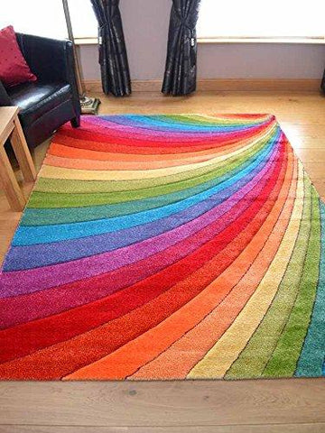 Multicoloured modern rug in Rainbow design available in 7 sizes (80cm x 150cm)