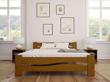Solid Pine Wooden Bed Frame King Size 5ft In Oak Colour & Sturdy Thick Slats