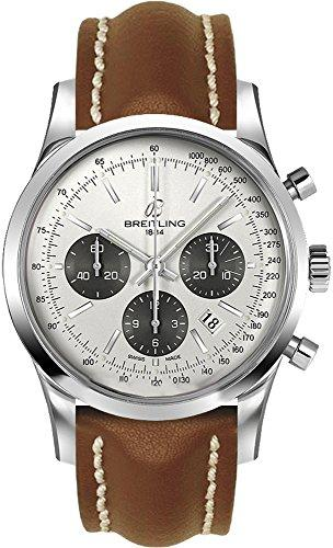 Breitling Transocean Chronograph/Clock//Silver Dial Mercury Men Speaker Steel/Brown Leather Strap