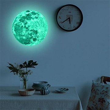 Weant 20cm 3D Large Moon Planet Fluorescent Absorb Light Wall Sticker Removable Decal Decorations Wall Stickers for Bedrooms Girls Boys Kids Shop Windows Living Room(Green) (20cm)