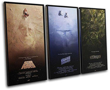 Bold Bloc Design - Star Wars Trilogy Posters Movie Greats 60x40cm TREBLE Canvas Art Artwork Print Box Framed Picture Wall Hanging - Hand Made In The UK - Framed And Ready To Hang