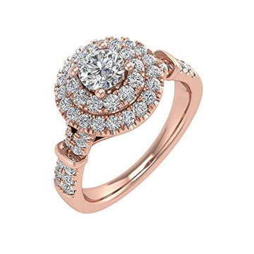 IGI Certified 18K Rose Gold Diamond Engagement Ring Band (0.8 Carat)