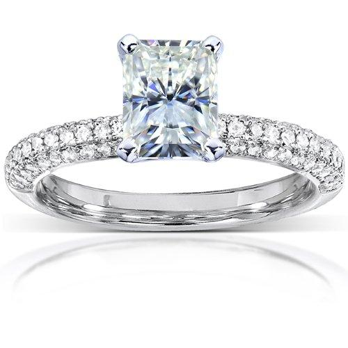 Radiant-cut Moissanite and Micro-Pave Diamond Engagement Ring 1 1/2 Carat (ctw) in 14k White Gold_5.5