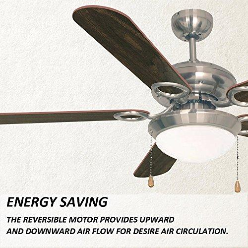 Ustellar 52inch/132cm LED Ceiling Fan Light, Reversible Classic Bedroom Ceiling Fans Lamp with 5 Wooden Blades, Frosted Dome Light for Winter and Summer Using, GS/CE Listed