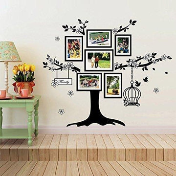 Walplus 150x100 cm Wall Stickers Birdcage Photo Frame Removable Self-Adhesive Mural Art Decals Vinyl Home Decoration DIY Living Bedroom Office Décor Wallpaper Kids Room Gift, Black