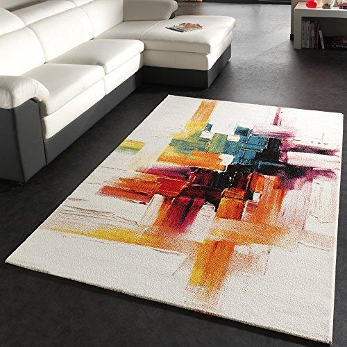 Rug Modern Canvas Look Designer Carpet in Cream Colourful Brushed, Size:80x150 cm